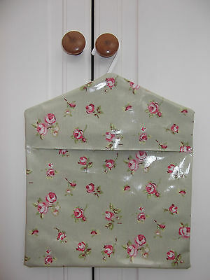 Handmade Peg Bag made from Quality Oilcloth. Green Floral Design.