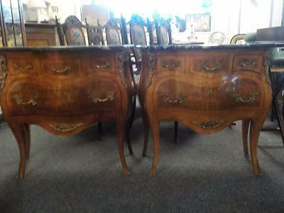 Pair Reproduction French Bombe Front Commodes In Burr Walnut Marble Tops