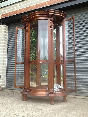 A Large Magnificent Shop Display Cabinet Serpentine Glass