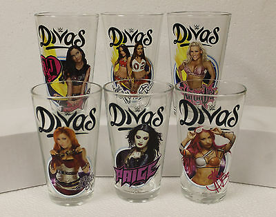 WWE Divas Set of (6) 16 oz Pint Glass TOON TUMBLER AJ Lee Becky Bella Paige