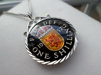 Vintage Enamelled One Shilling Coin 1957 Pendant & Necklace. 60Th Birthday Gift