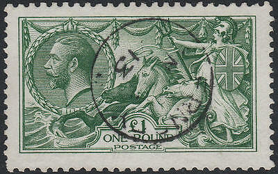 1913 Waterlow Seahorses Sg403 £1 Green Superb Used Guernsey Cds