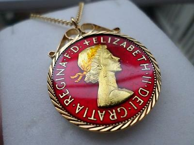 Vintage Enamelled One Penny Coin 1965 Pendant & Necklace. Great Birthday Gift