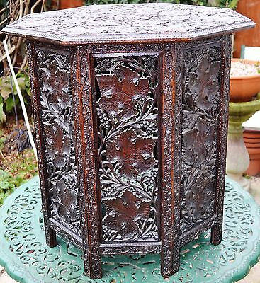 """LARGE c1900 CARVED ANTIQUE ANGLO INDIAN OCTAGONAL FOLDING TABLE- 25.75"""" X 25"""""""