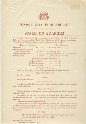 Dundee City Fire Brigade - Scale of Charges, 1920