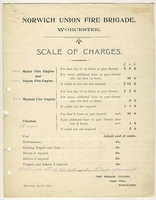 Worcester - Norwich Union Fire Brigade - Scale of Charges, 1905
