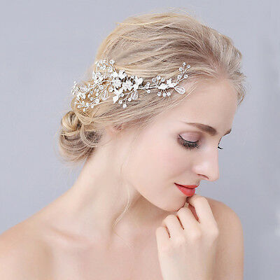 Bride Crystal Silver Headpiece Hair Comb Wedding Party Hair Jewelry Handmade New