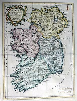 IRELAND BY THOMAS KITCHIN GENUINE ANTIQUE MAP WITH HAND COLOUR c1762