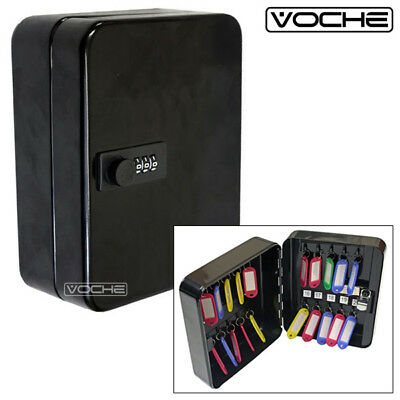 Voche® 20 Hook Steel Lockable Combination Lock Key Cabinet Security Box + Fobs