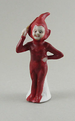 Vintage Germany Christmas Cake Ornament Bisque Red Elf e4
