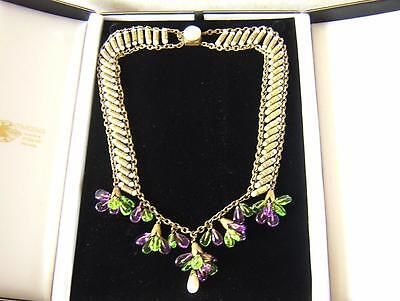 Superb Antique Edwardian Costume Necklace & Droplets 1910 - Suffragette Colours