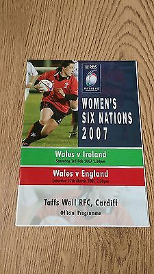 Wales v England 2007 Women's Rugby Union Programme