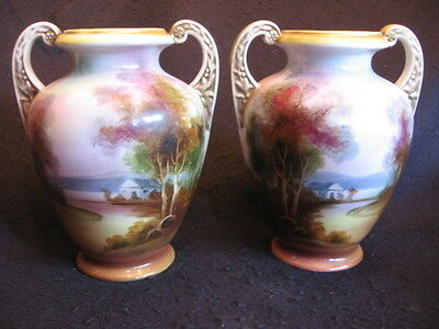 "LOVELY PAIR of ART DECO NORITAKE 8"" HAND-PAINTED VASES 'KOMARU' MARK c.1920's EX"