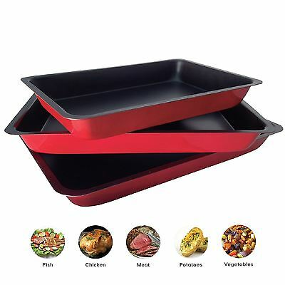 3 Piece Non Stick Roasting Baking Cooking Trays Set Oven Dish Bakeware Bake Pan