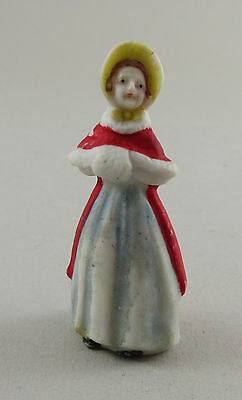 Vintage Germany Christmas Cake Ornament Miniature Bisque Victorian Lady e8