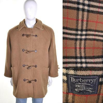 BURBERRY VTG Check Lined Wool Duffle Coat L Brown Duffel Jacket Designer