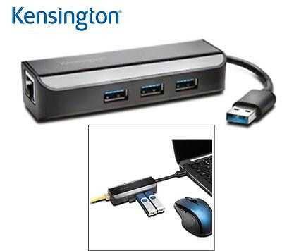 Kensington 3 Port USB3.0 Hub & 1 Port Gigabit Ethernet Adapter K33982WW