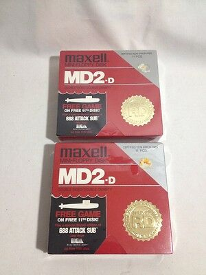 Maxell Mini-Floppy disk MD2-D Double Sided Double Density Lot of 2 boxes of 10pc