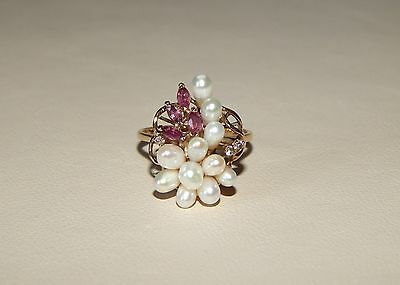 Gorgeous 14k Solid Yellow Gold Pearl, Ruby, & Diamond Ladies Ring - Size 7.5