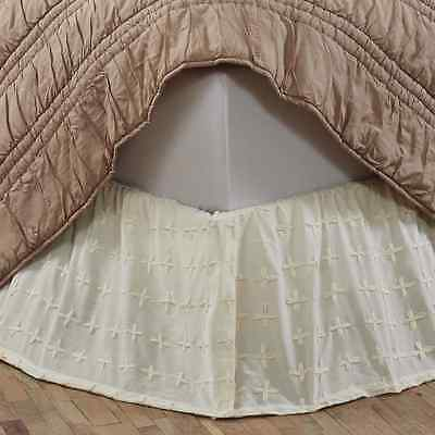 WILLOW CREME King Bed Skirt Dust Ruffle Cottage Country Chic Cotton Embroidered