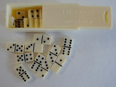 Vintage NOS Shackman Dollhouse Miniature 28 piece  Domino Set In Chest w/ Box