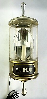 Michelob Beer Lighted Lantern Advertising Bar Sign Crystal Lamps 1982 Working