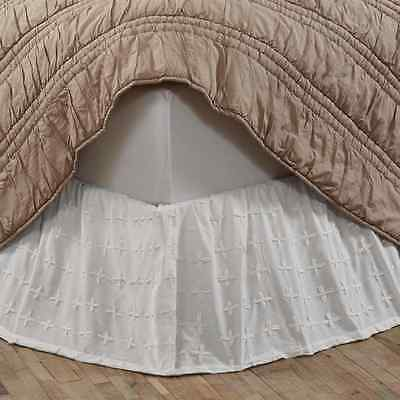WILLOW WHITE Twin Bed Skirt Dust Ruffle Cottage Country Chic Cotton Embroidered