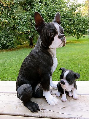 "Boston Terrier Mom And Puppy Dogs Figurine Resin  Dogs New 16.5"" Sits"