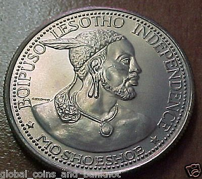 Lesotho ,1966 Moshoeshoe II Independence Large Silver 50 Licente KM# 4.3 Unc