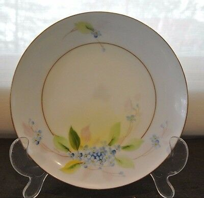 "Vtg Hand Painted ""Forget Me Not""  China Plate Gold Leaf W A Pickard Mark 6-5/8"""