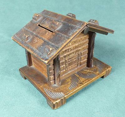 """BLACK FOREST Carved Wooden PUZZLE MONEYBOX - """"SWISS CHALET"""" - Vintage/ Antique"""