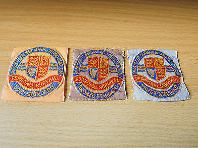 Amateur Swimming Association Personal Survival collection 3 badges / patches ASA
