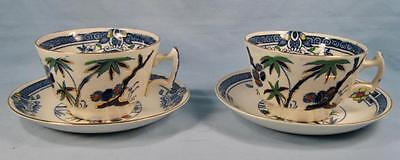 2 Kenya Blue Cup & Saucer Sets Wood & Sons Woods Ware Hand Painted Trees (O4)