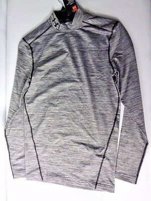NEW Under Armour Men's ColdGear Twist Compression Mock Long Sleeve Shirt GREY