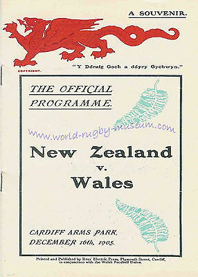 WALES v NEW ZEALAND 1905 RUGBY PROGRAMME POSTCARD