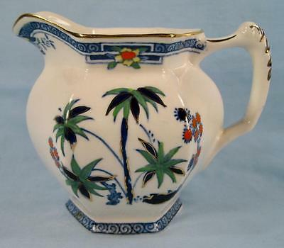 Kenya Blue Creamer Wood & Sons Woods Ware Hand Painted Palm Trees (O4) AS IS