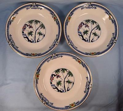 3 Kenya Blue Coupe Soup Bowls Wood & Sons Woods Ware Hand Painted Trees (O4)