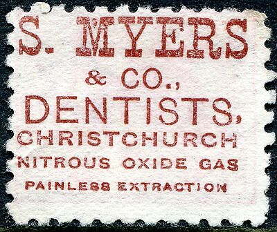 1882/1900 - NEW ZEALAND - 1d ROSE WITH RED ADSON MYERS DENTISTS, USED