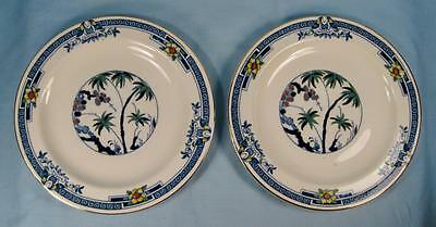 2 Kenya Blue Salad Plates Wood & Sons Woods Ware Hand Painted Palm Trees (O4)