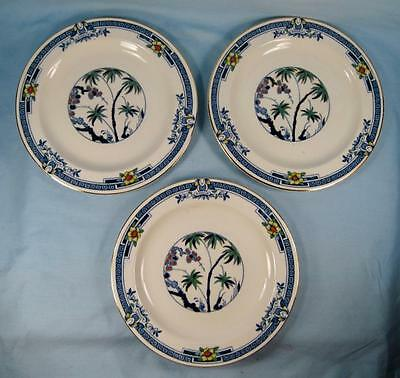 3 Kenya Blue Salad Plates Wood & Sons Woods Ware Hand Painted Palm Trees (O4)
