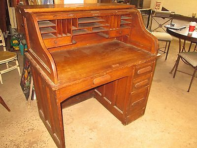 Antique Oak S Roll Single Pedestal Desk  C1920's