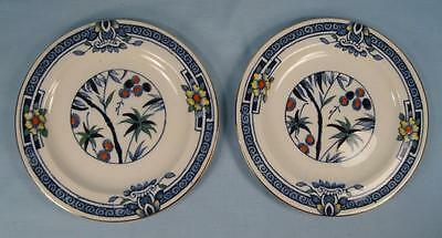 2 Kenya Blue Bread & Butter Plates Wood & Sons Woods Ware Hand Painted Tree (O4)
