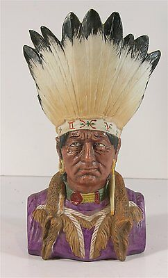 """ca1900 NATIVE AMERICAN INDIAN CHIEF FIGURAL VASE 10.25"""" TALL IN GREAT CONDITION"""