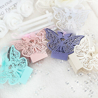 100×Paperboard Butterfly Gift Bag Candy Box Garden Wedding Party Favors Boxes