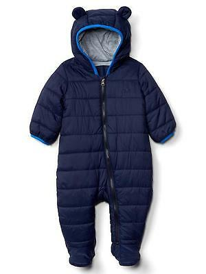 Boy Baby GAP NAVY BLUE Padded Primaloft Bear Snowsuit Coat Pramsuit 0-6m £34.95