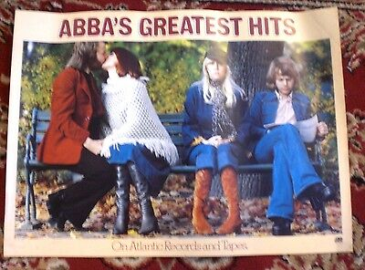 "ABBA  Greatest Hits 1976 ORIG Rare Large Atlantic Records Promo Poster 18"" X 25"""
