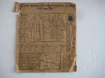 c.1900  Mc CALLS PATTERN  No. 7656 FOR GIRL'S COAT - AGE 6 YEARS