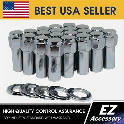 20 Pc 7//16 OPEN END WELD WHEEL TYPE LUG NUTS WITH CENTER CHROME WASHERS # 8602