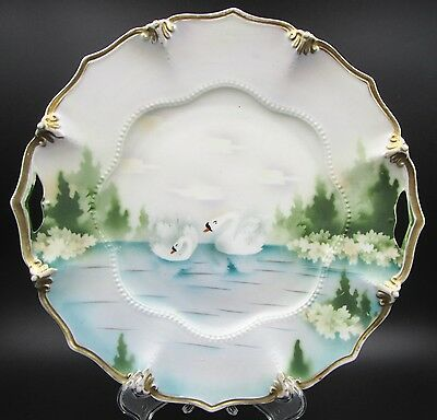 """Antique RS Prussia Scalloped / Bead Swan & Evergreen Scenic 9.5"""" Serving Plate"""