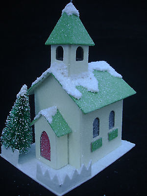 Putz Style Church ORNAMENT w green bottle brush tree Ragon House paper house NEW